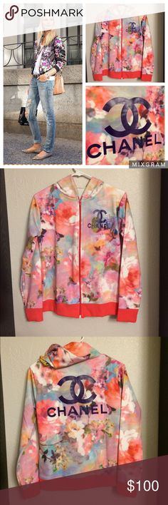 "CC Floral Track Jacket Get the ""shopping is my cardio"" look! Features a chic all over print, logo imprint on front and back, hoodie, solid color cuffs and hem to complete the look. Poly/Cotton Blend. One Size Fits: S/M zipped up or larger if worn unzipped! This is a no brand fashion sweater. Not a $500 high end piece. Please be mindful of this detail before purchasing. NWOT *Open to Reasonable Offers* CHANEL Jackets & Coats"
