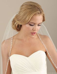 V7304 1-tier fingertip veil with beads and pearls  **Available for order at A Curvy Bride**