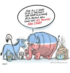 Cartoon: GOP elephant obstructing Democrat Donkey by Ian David Marsden, via Flickr