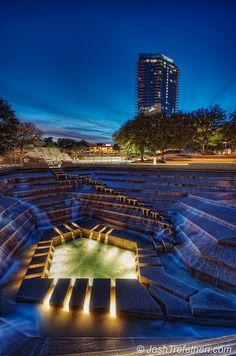 Water Gardens, Fort Worth, Texas - 10 minutes away. I love Fort worth ! Oh The Places You'll Go, Places To Travel, Places To Visit, Dream Vacations, Vacation Spots, Fort Worth Water Gardens, Only In Texas, Fort Worth Texas, Texas Travel