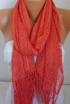 Coral Tulle Shawl Scarf