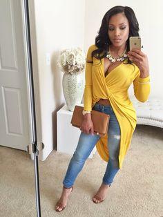Spring Summer Fashion Outfit Yellow Dress Top Denim Jeans Tan Clutch High Heel Sandals Stylish Style Trend MissyLynn