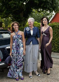 (L-R) Denmark's Princess Marie, Queen Margrethe and Crown Princess Mary during a charity dinner even at the Fredensborg Castle for the benefit of the WWF World Wildlife Fund's work in Sep 2010