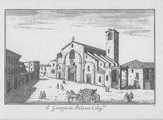 """Chiesa di S. Giorgio al Palazzo, via Torino, Milano. Marc'Antonio Dal Re, """"Vedute di Milano"""", incisione 28 (ca. 1745)."""