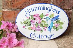 Personalized House Plaque hand painted with hummingbird, Address plaque, custom House Sign, number sign, custom cottage sign