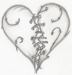 broken hearted tattoos | Broken Heart With Stitches Tattoo
