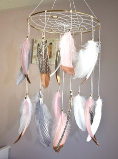Feather Baby Mobile Dream Catcher Baby Girl Mobile Pink