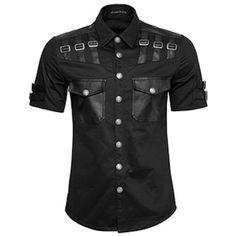 Men Black Short Sleeve Steam Punk Gothic Military Casual Shirts SKU-11407422