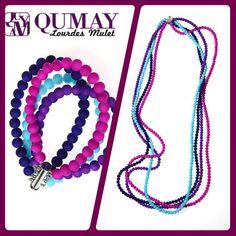 Collar y brazalete de silicona en diversas tonalidades