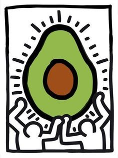 Untitled, 1988 (Two Figures with Heart with Avocado)     Keith Haring