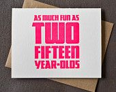 30th Birthday Card: Fun As Two Fifteen Year Olds.