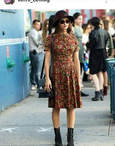 floral dress with classic army boots