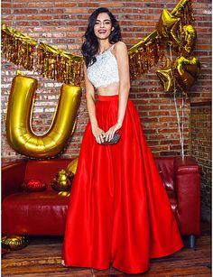 Formal Evening Dress - Multi-color A-line Spaghetti Straps Ankle-length Satin - USD $ 119.99