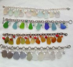 """Sea glass """"charm"""" bracelets"""