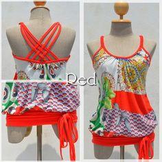 和テイスト★サイケDEバッキリ!ウエスト切替えキャミ(color:Red) #fashion #naturaleeza #tops