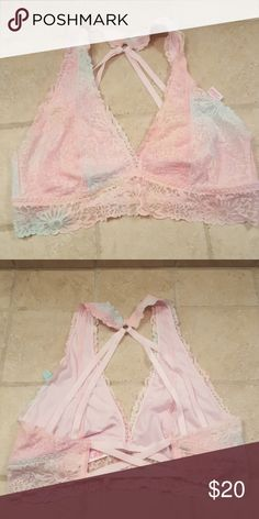 ***2 for $40***  VS PINK  bralette ***2 for $40*** Add 2 of the qualifying items (listed at 2 for $40 in description) and send me offer!! Gorgeous pink and blue lace bralette PINK Victoria's Secret Intimates & Sleepwear Bras