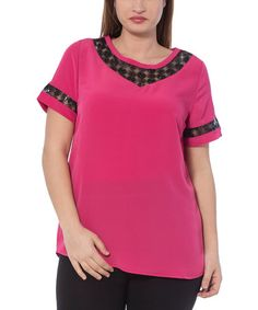 Love this Fuchsia & Black Sequin-Trim Top - Plus by RMG on #zulily! #zulilyfinds