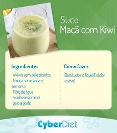 Suco antioxidante para cuidar do coração e ficar com a pele mais bonita! O ingrediente responsável pelos benefícios do suco é o kiwi, rico em antioxidante que contribuem para a saúde das suas artérias. Mais dicas como essa em https://www.facebook.com/cyberdietoficial