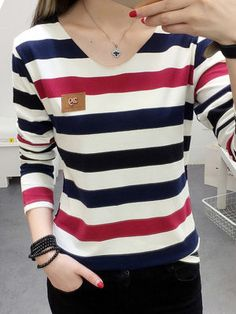 V Neck Striped Long Sleeve T-Shirts the best Online Clothing Shopping Boutiques, get the latest fashion clothing online # Semi Formal Mujer, Cheap Womens Tops, Shirt Blouses, Long Sleeve Tops, Couture, Clothes For Women, Sleeves, Fashion Online, Latest Fashion