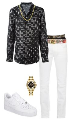 A menswear look from July 2017 featuring mens long sleeve shirts, mens stretch jeans and versace men's underwear. Browse and shop related looks. Dope Outfits For Guys, Swag Outfits Men, Stylish Mens Outfits, Girl Outfits, Tomboy Fashion, Look Fashion, Streetwear Fashion, Girl Fashion, Hype Clothing