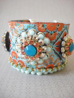 bohemian hippie bracelet turquoise and orange