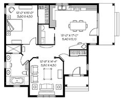 Home Plans HOMEPW08408 - 1,108 Square Feet, 1 Bedroom 1 Bathroom Country Home with