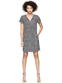 Printed short-sleeve tunic dress