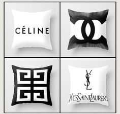 Just put an order in to carry in my store. How adorable are these hand sewn designer throw pillows? More styles as well. Perfect for a fashionistas bedroom, office, or closet. Cute Pillows, Diy Pillows, Sofa Pillows, Home Bedroom, Bedroom Office, Bedroom Decor, Fashionista Bedroom, Chanel 2015, Chanel Chanel