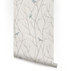 Branch Birds Peel & Stick Fabric Wallpaper Repositionable - Simple Shapes Wall Decals, Furniture, and Accessories