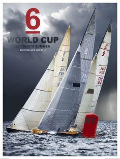 Poster photo Régate en baie de Quiberon.   6M JI World Cup.   Philip Plisson.   Brittany