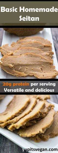 Learn how to make seitan at home with this basic homemade seitan recipe. Foods With Gluten, Vegan Foods, Vegan Dishes, Vegan Seitan Recipe, Homemade Seitan Recipe, Vegan Meat Substitutes, Whole Food Recipes, Cooking Recipes, Recipes Dinner