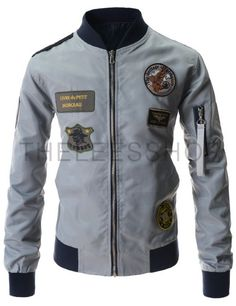 (YJ09-LIGHTGRAY) Stylish Slim Fit Unique Emblem Patch Arm Pocket Flight Blouson Jacket