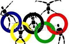Benodigdheden: scharen en lijm per groep een vel tekenpapier op A1 formaat ronde vouwkartons in de Olympische kleuren sportfi...