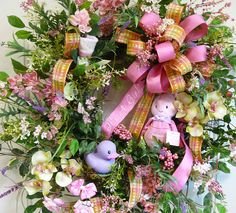 Sweet Baby Wreath, using colors in nursery and hair bows for use with baby girl