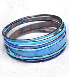 Bluey Enamel Bangle Set by Bullfinch  Barbury Enamelists on Scoutmob Shoppe