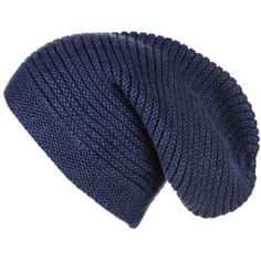 13ce735d6cb Black Midnight Navy Blue Rib Knit Cashmere Slouch Beanie (300 BRL) ❤ liked  on Polyvore featuring accessories