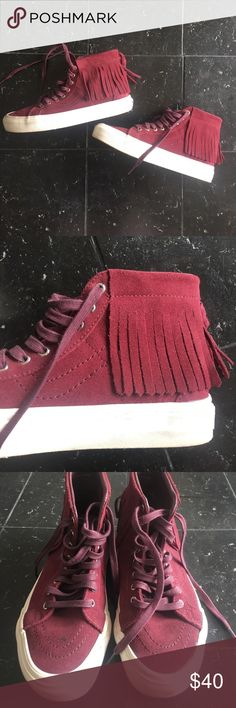 VANS Maroon Fringe HighTops Maroon Suede Fringe HighTops by VANS. Maroon Laces, Silver hardware, honey comb bottoms fro traction. VisualWear: rubber soles. Little stain on top of right (not noticeable when on feet) Vans Shoes Sneakers