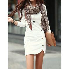 Long Sleeve Button Design Dress