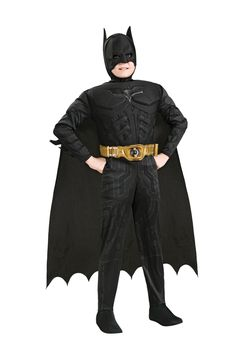 The Dark Knight Deluxe Batman Costume: Boy's Size 8-10. Synthetic. Wipe Clean w/ Damp Cloth. No Bleach. Wash or Iron. Do not Dry Clean. Includes: Jumpsuit with attached boot tops, headpiece, cape and belt.