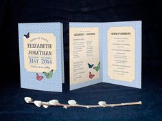 Order of Service card Polka dots & Butterflies Vintage A6 Folded
