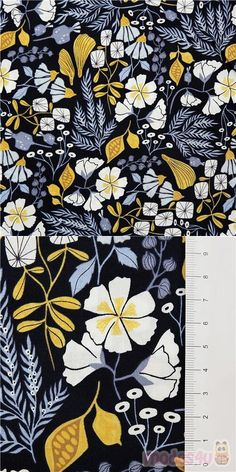 navy blue cotton fabric with white yellow flowers and yellow blue leaves in a retro print, Material: 100% cotton, Fabric Type: smooth cotton fabric #Cotton #Flower #Leaf #Plants #USAFabrics