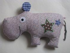 """Kuschel- und Schmusekissen Nilpferd """"Hippo"""" von Krea_Kat auf DaWanda.com"""