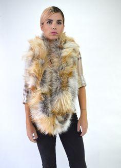 c1c5d1448 Real fur scarf, golden island fox cowl, red fox fur wrap collar. Premium