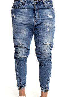 zipper blue jeans