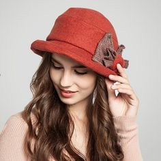 Autumn winter bow beret hat for women fashion wool hats curling