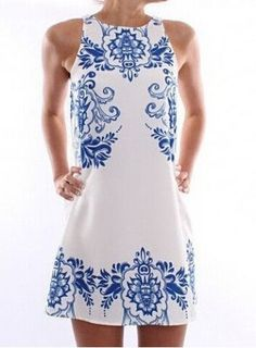 white and blue printed dress