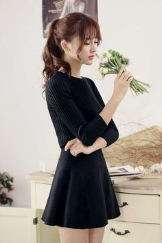 Japanese Style - knit slim dress AddOneClothing.com Size Chart