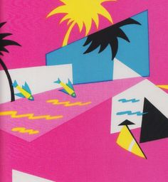 scenerylabel:  Fantastic 1980s fashion print. 6.10.80 from the Wave collection, Phillip de Leon for Alexander Henry fabrics. Source: http://...