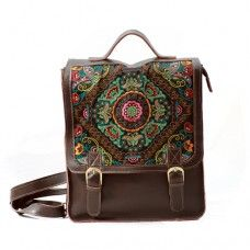 Designer National Style Cow Leather Handcraft Embroidery Backpack