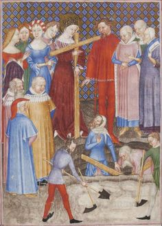 (the woman in blue has some awesome dagged sleeves and the woman in red is a great display of a lined garment and layering)--- Manuscript     BNF Latin 757 Missale et horae ad usum Fratrum Minorum Folio     355r Dating     1385-1390 From     Milan, Lombardy, Italy Ho...